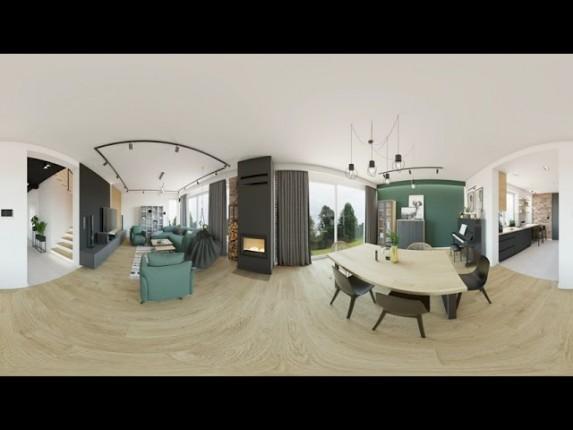 Projekt wnętrz w wirtualnej rzeczywistości. Projekt salonu z kuchnią 360° VR