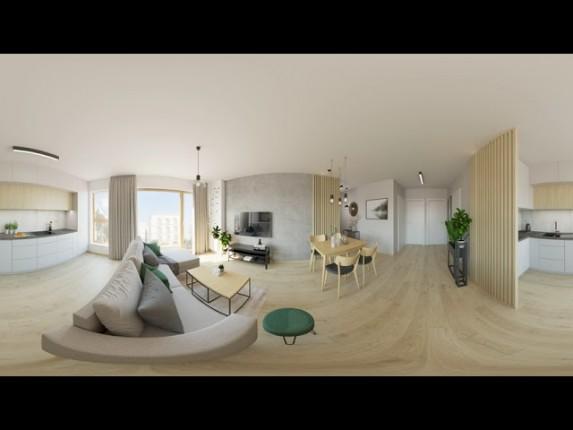 Projekt salonu i kuchni, styl skandynawski i nowoczesny  w wirtualnej rzeczywistości
