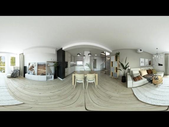 Salon z kuchnią w klasycznym stylu. Wirtualna rzeczywistość w wnętrzach 360° VR