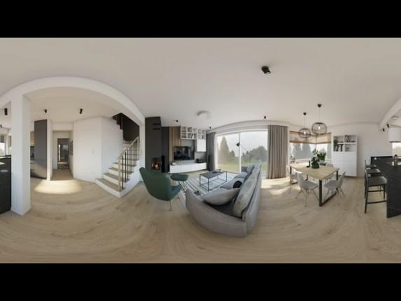 Projekt wnętrza w domu jednorodzinnym. Projekt wnętrza w wirtualnej rzeczywistości  360° VR