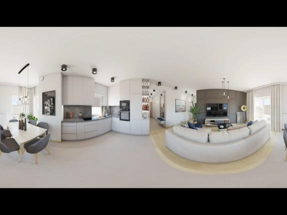 projekt wnętrz  salonu z kuchnią w nowoczesnym stylu