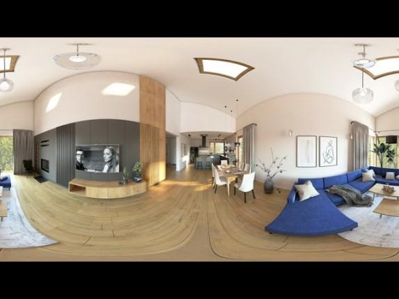Wirtualna rzeczywistość we wnętrzach. Projekt salonu z kuchnią w 360° VR