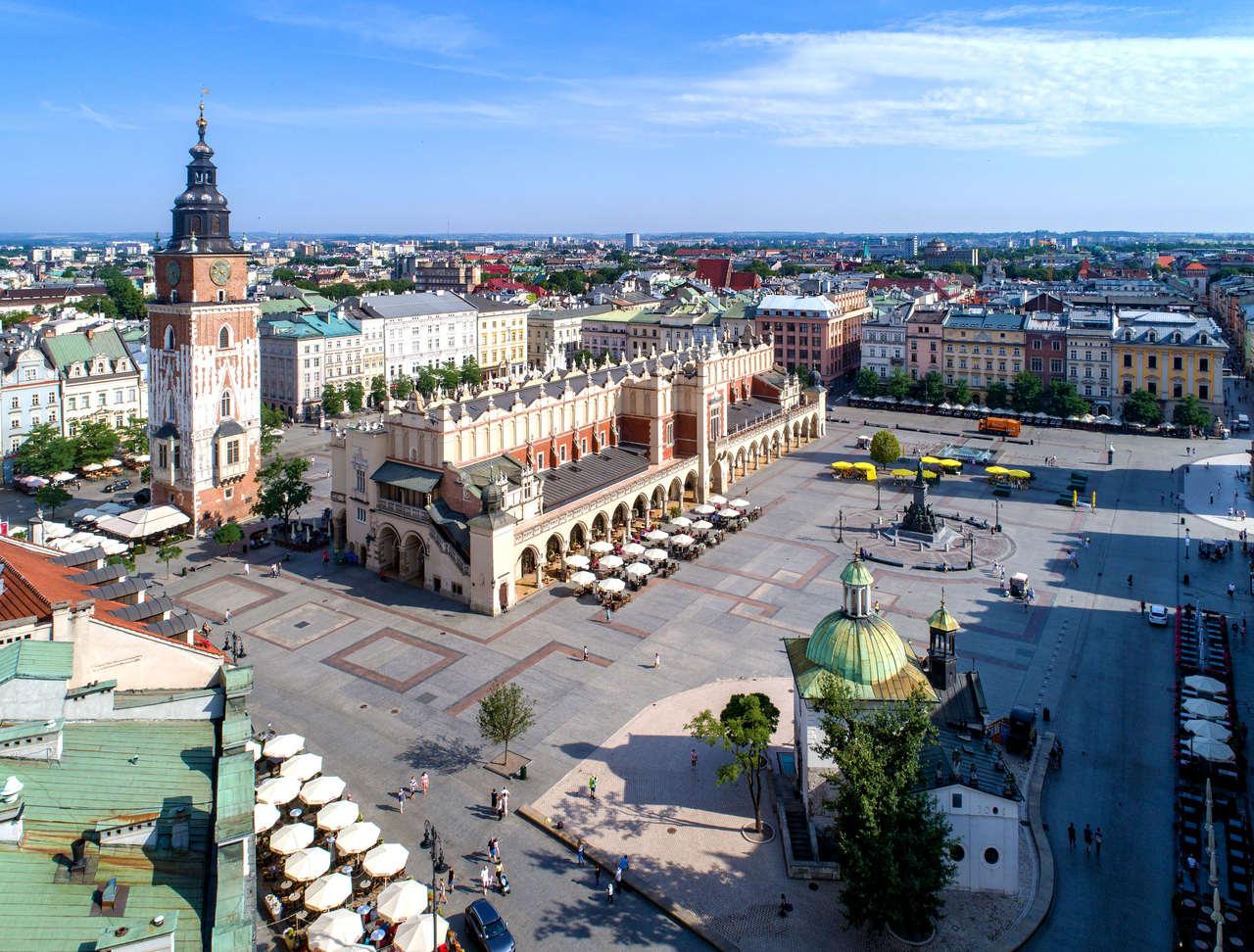 Apartamenty Kraków – widok z lotu ptaka na krakowski rynek